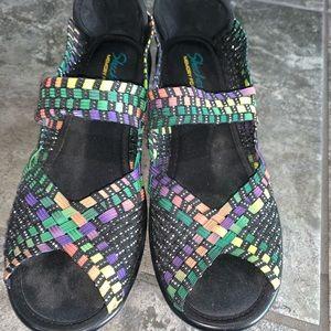 Skechers Elastic Peep Toe Wedge Mary Janes  7.5